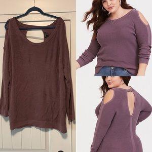 Torrid cold shoulder pullover sweater